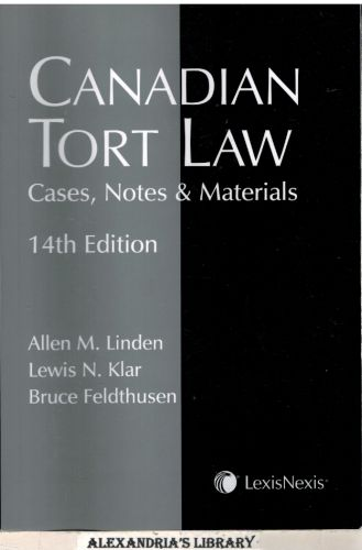 Image for Canadian Tort Law, Cases, Notes & Materials 14E