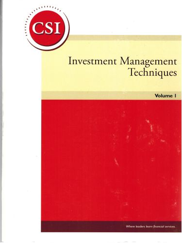Image for Investment Management Techniques Volume 1