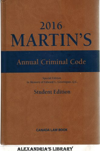 Image for Martin's Annual Criminal Code, 2016 Edition - With CD