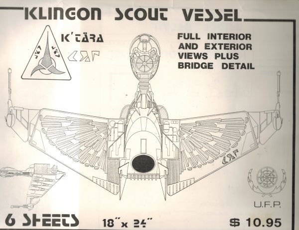Image for Star Trek Blueprints - Klingon Scout Vessel Blueprints/Full Interior & Exterior Views Plus Bridge Detail -6 Sheets