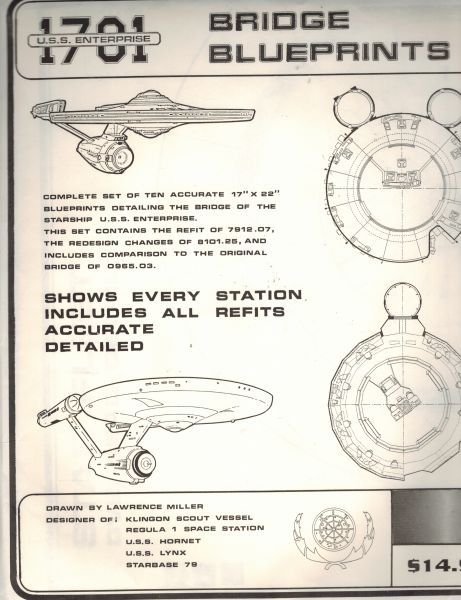 Image for U.S.S. Enterprise Bridge Blueprints, Shows Every Station Including All Refits Accurate Detailed