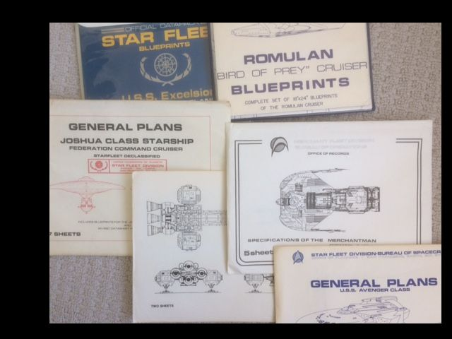 "Image for Star-Trek Blueprints: Romulan ""Bird of Prey"" Cruiser; Official Datapack Star Fleet Blueprints U.S.S. Excelsior;Star Fleet - General Plans U.S.S. Avenger Class"