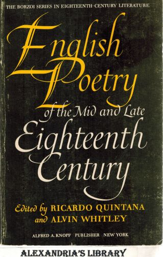Image for English Poetry of the Mid and Late Eighteenth Century, an Historical Anthology